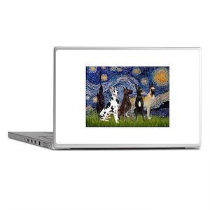 Starry Night / 4 Great Danes Laptop Skins