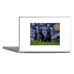 Starry Night / 2 Black Labs Laptop Skins