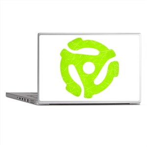 Lime Green Distressed 45 RPM Adapter Laptop Skins