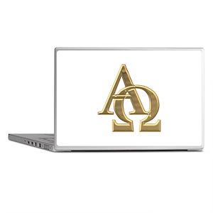 """""""3-D"""" Golden Alpha and Omega Symbol Laptop Skins"""
