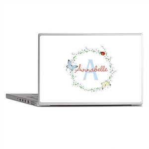 Cute Butterfly Floral Monogram Laptop Skins