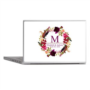 Boho Wreath Wedding Monogram Laptop Skins