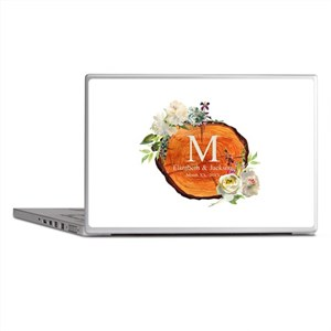 Floral Wood Wedding Monogram Laptop Skins