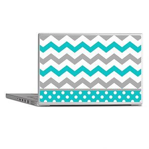 Teal and Gray Chevron Polka Dots Laptop Skins