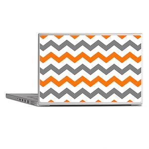 Gray and Orange Chevron Pattern Laptop Skins