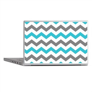 Teal and Gray Chevron Pattern Laptop Skins