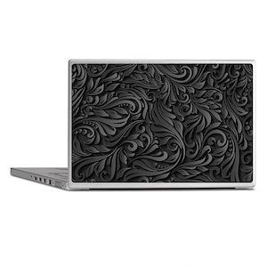 Black Flourish Laptop Skins