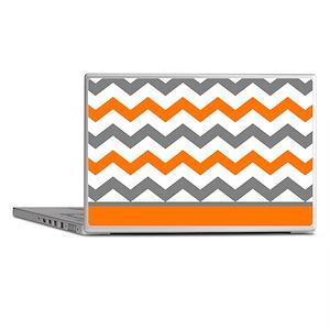 Orange Gray Chevron Stripe Laptop Skins