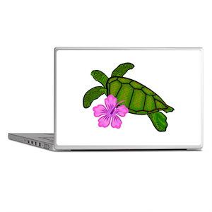 Colored Sea Turtle Hibiscus Laptop Skins
