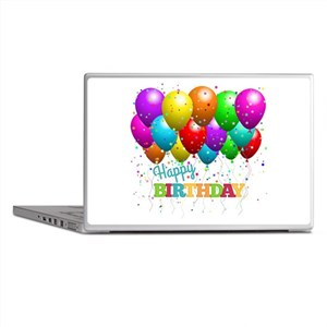 Trendy Happy Birthday Balloons Laptop Skins