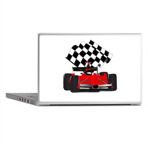 Red Race Car with Checkered Flag Laptop Skins
