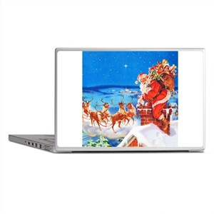 Santa and His Reindeer Up On a Snowy Laptop Skins
