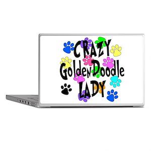 Crazy Goldenddoodle Lady Laptop Skins