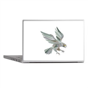 Peregrine Falcon Swooping Grey Low Polygon Laptop