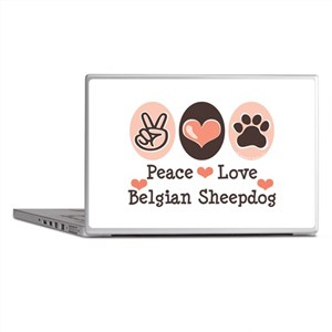 Peace Love Belgian Sheepdog Laptop Skins