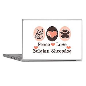 Peace Love Belgian Sheepdog Laptop Skins