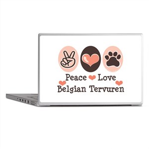 Peace Love Belgian Tervuren Laptop Skins