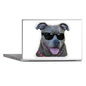 Pitbull in sunglasses Laptop Skins