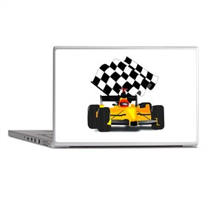 Yellow Race Car with Checkered Flag Laptop Skins