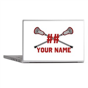 Personalized Crossed Lacrosse Sticks with Red Lapt