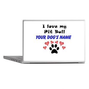 Custom I Love My Pit Bull Laptop Skins