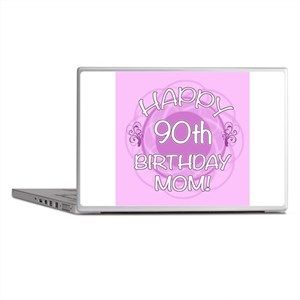 90th Birthday For Mom (Floral) Laptop Skins