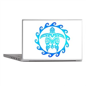 Blue Tribal Turtle Sun Laptop Skins