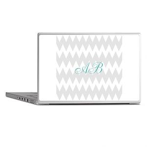 Gray Chevron Teal Monogram Laptop Skins