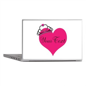 Personalizable Pink Heart with Crown Laptop Skins