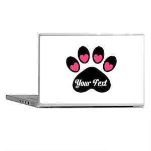 Personalizable Paw Print Pink Laptop Skins