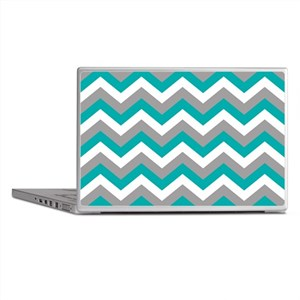 Grey & Teal Chevron Pattern Laptop Skins
