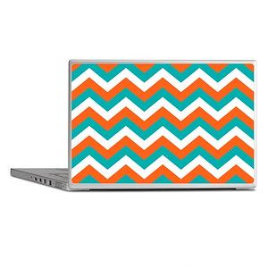 Teal & Orange Chevron Pattern Laptop Skins
