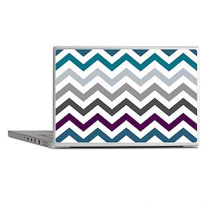 Purple, Blue & Grey Chevron Pattern Laptop Skins