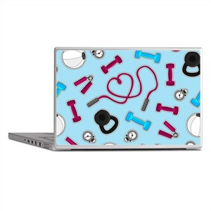 Fitness Love Pattern Blue and Purple Laptop Skins
