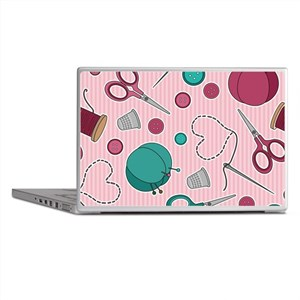 Cute Sewing Themed Pattern Pink Laptop Skins
