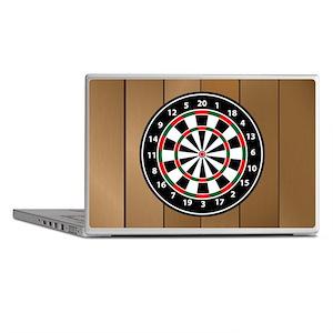 Darts Board On Wooden Background Laptop Skins