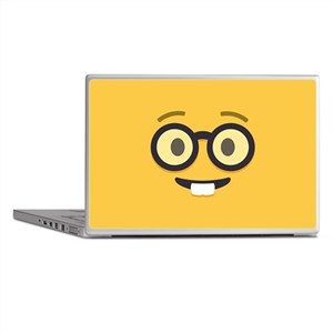 Nerdy Emoji Face Laptop Skins