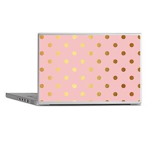 Golden dots on pink backround Laptop Skins