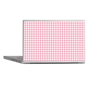 Pink Gingham Pattern Laptop Skins