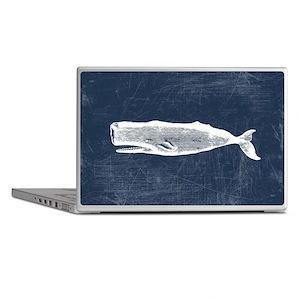 Vintage Whale White Laptop Skins