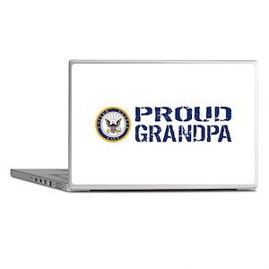 U.S. Navy: Proud Grandpa (Blue & Whit Laptop Skins