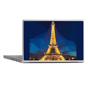 Eiffel Tower Blue Gold Low Poly Laptop Skins