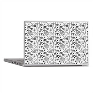 Cute Doodle Hearts Pattern Background Laptop Skins
