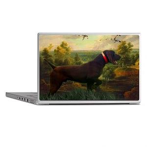 vintage hunting pointer dog Laptop Skins