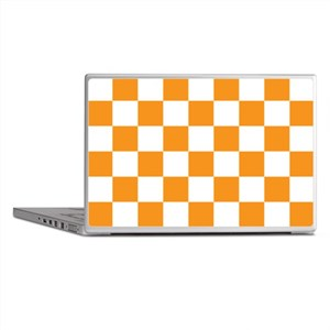 ORANGE AND WHITE Checkered Pattern Laptop Skins