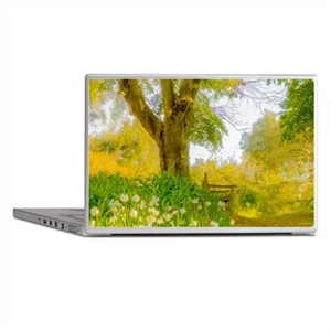 Golden Scene with Tree and Bench Laptop Skins