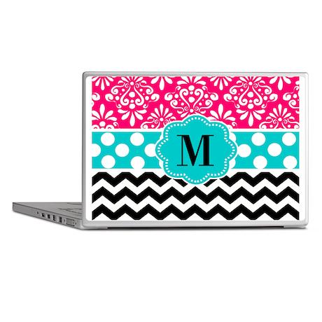 Pink Teal Chevron Monogram Laptop Skins