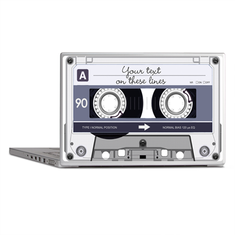 Customizable Cassette Tape - Grey Laptop Skins