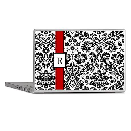 Red Black Damask Monogram Laptop Skins