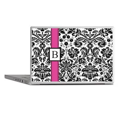 Pink Black Damask Monogram Laptop Skins